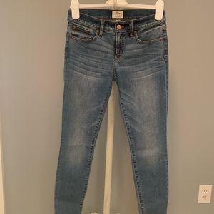 8 inch medium wash toothpick jeans